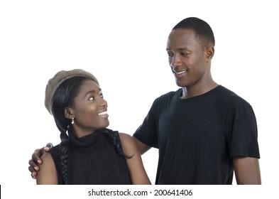 Young african couple, Studio Shot, isolated