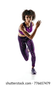 Young african girl runner in silhouette isolated on white background. Dynamic movement. Sport and healthy lifestyle.
