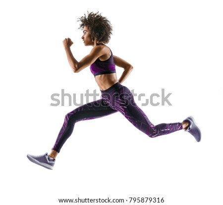 young african girl running silhouette on の写真素材 今すぐ編集