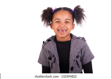 young african girl without teeth on white background