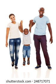 young african happy family having fun on white background