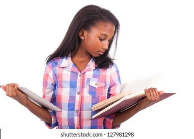 young african Student isolated read a book