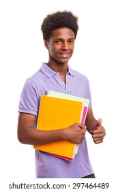 Young african student posing isolated over a white background