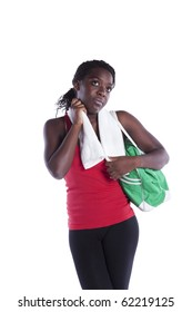 Young african woman cleaning her seat after the exercise (isolated on white)