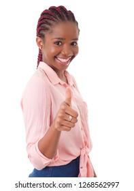 young african woman going thumbs up, isolated on white background