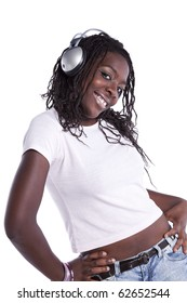 young african woman listening to music (isolated on white)