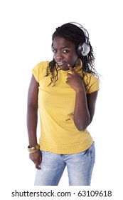 young african woman listening to music headphones (isolated on white)