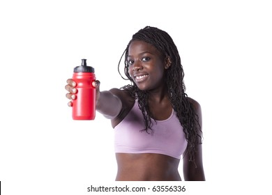 Young african woman refreshing after the exercise (isolated on white)