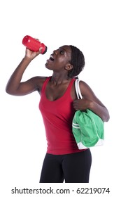 Young african woman refreshing  her seat after the exercise (isolated on white)