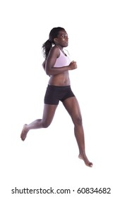 young african woman running with barefoot (motion blur on some movement)