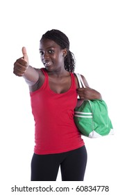 young african woman satisfied with her sport results (isolated on white)