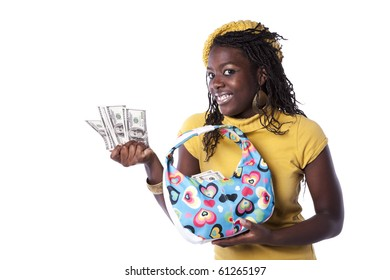 young african woman showing money from her wallet (isolated on white)
