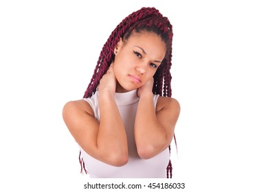 Young African woman suffering from the neck