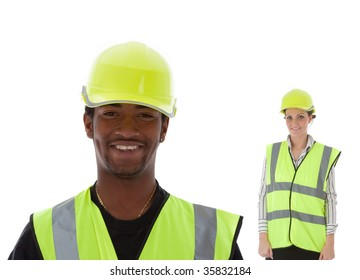 A young African-American construction worker and architect