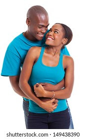 young afro american couple embracing over white background