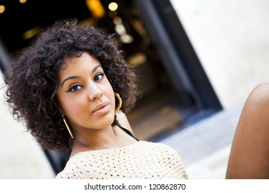 Young afro american woman in an old fashion style