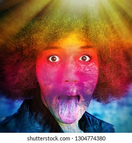 Young afro woman with rainbow colors