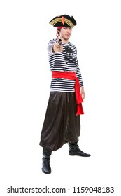 Young aiming pirate posing in the studio. Isolated on white
