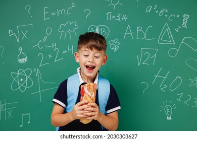 Young amazed male kid school boy 5-6 years old in t-shirt backpack biting sandwich eating lunch isolated on green wall chalk blackboard background. Childhood children kids education lifestyle concept.