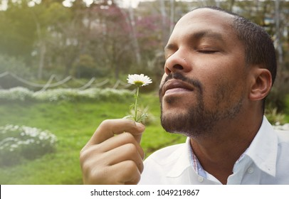 Young american african businessman in informal clothes meditating taking a deep breath with flower.Business yoga and stress free environment.Peace of mind concept.Blurred
