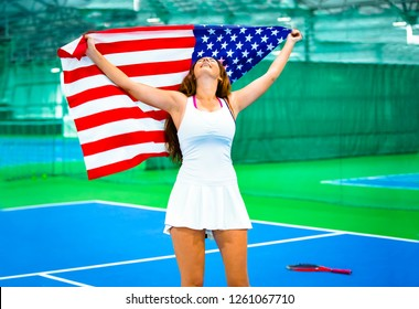 Young American athlete Shouting Ovation while Celebrating for a Goal in a tennis Competition in Sport Event Competition or in National League, Happy 4th of July American Independence Day - Images
