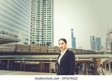 Young American Business Woman working in Asia