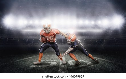 Young american football players in action on stadium with ball