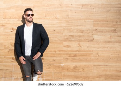 young american man smiling happy with sunglasses portrait outdoor