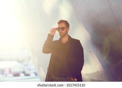 young american man with sunglasses portrait outdoor