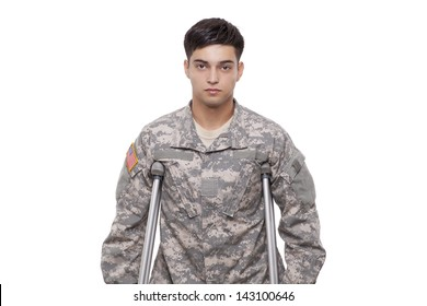 Young American soldier with crutches
