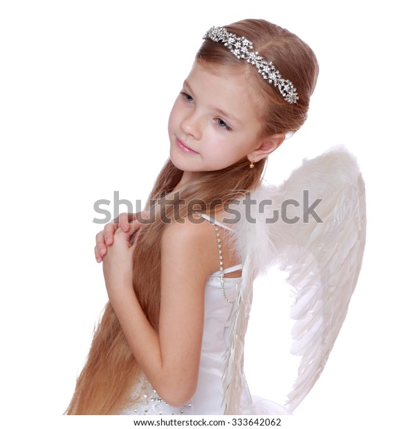 Young Angel Girl Praying Isolated On Stock Photo Edit Now 333642062
