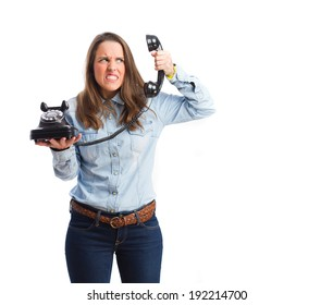 young angry woman on phone. isolated
