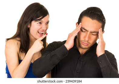 young angry woman screaming at boyfriend husband isolated on white