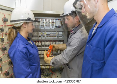 young apprentice with electrician professional
