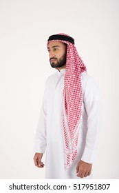 Young Arab man on white background