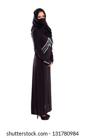 young arabian woman full length portrait on white