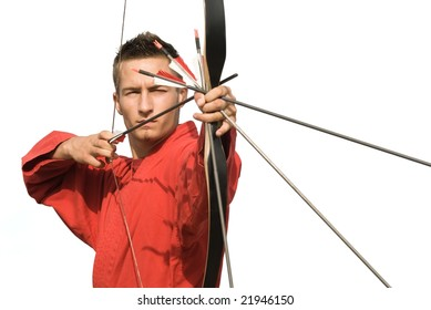 Young archer concentrating and aiming, frontal view, can be associated with concepts of excellence,, self-control, winning, expertise, precision, perfection