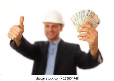 Young Architect with bills in his hands