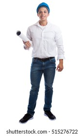 Young architect with plan standing full body occupation job isolated on a white background