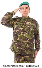 Young army soldier saluting isolated on white background