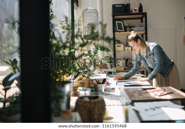 Young Artist Working Art Workshop Concept Stock Photo Edit