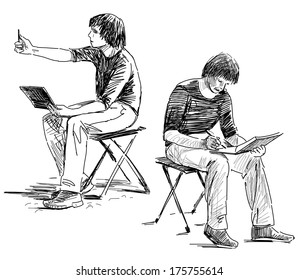 young artists makes sketches