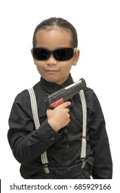 young asia boy with gun isolate on white background.