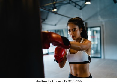 Young Asia lady kickboxing exercise workout punching bag tough female fighter practice boxing in gym fitness class. Sportswoman recreational activity, functional training, healthy lifestyle concept.