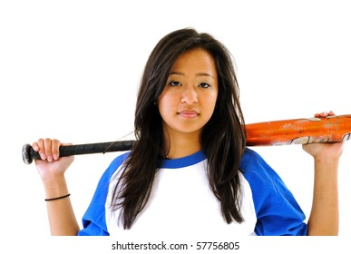 Young Asian American woman in baseball shirt with softball bat over shoulders