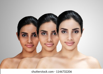 Young Asian attractive woman with skin brightening or facial rejuvenation concept. Face whitening after treatment compare before - after and lightening complexion for healthy or skincare business.