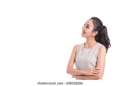 Young Asian beautiful woman smile and thinking looking to the side with copy space, isolated on white background