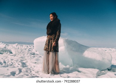 Young Asian Beautiful Woman Smile In Winter Snow Girl Outdoors Walking White Park