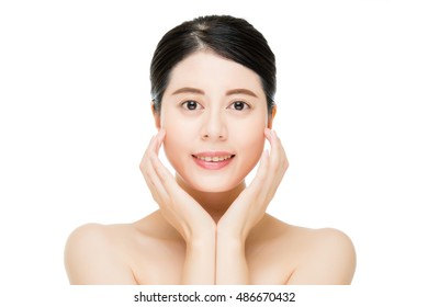Young asian beauty smile woman touch clean beautiful healthy face, isolated on white background