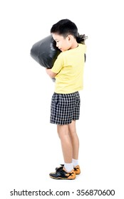 Young asian boy carry garbage in plastic bag for eliminate on the white background